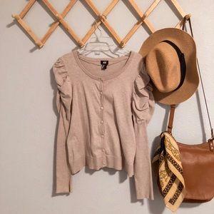 puff sleeve H&M beige cardigan
